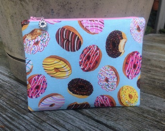 Doughnut Print Make-Up Bag, Zipper Pouch, Cosmetic Case, Doughnuts, Dessert, Sweets, Donut Fabric, Donut Charm - FREE U.S. SHIPPING