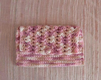 Chic Crochet Clutch Purse, Handbag, Lined, Envelope Style Bag, New Evening Bag, Dusty Rose, Pink, Beige, White, Gift for Her, Mother's Day