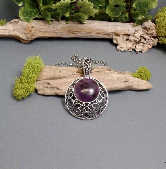 Amethyst Moon Necklace - Purple Pendant Moon - Gemstone Necklace - Crescent Moon Necklace