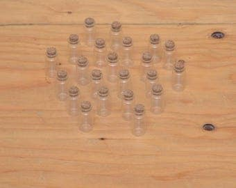 Set Of 22 Small Glass Vials With Cork Toppers, Great Crafting Supply