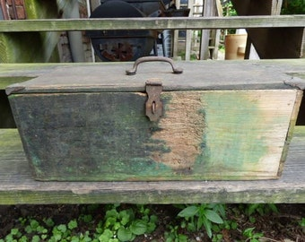 Vintage Wood tool box Primitive Rustic storage box Green