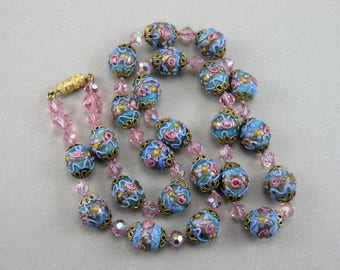 Vtg. Venetian Fiorato Wedding Cake Glass Beads Necklace, HTF