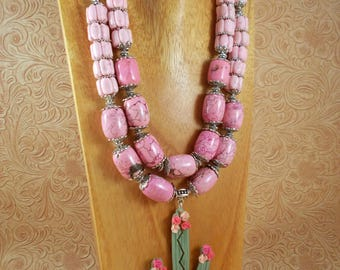 Western Cowgirl Statement Necklace Set - Chunky Pink Howlite - Saguaro Cactus Pendant