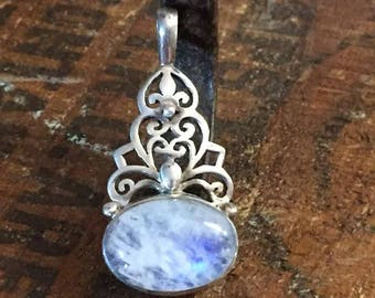 Sterling Silver Filigree Moonstone Necklace Pendant