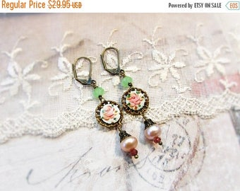 MOVING SALE Rustic Rose,Vintage Coro Guilloche Pink Rose Enamel,Genuine Pink Blush Pearls,Garnets, Mint Green Chalcedony Altered Assemblage