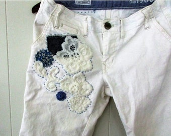 MOVING SALE Lacey Blues,Altered Upcycled White Jeans,Size 2 misses,Gap Jeans 1969 Easy Straight Style,Lace,Vintage Sackcloth Yoyo Deconstruc