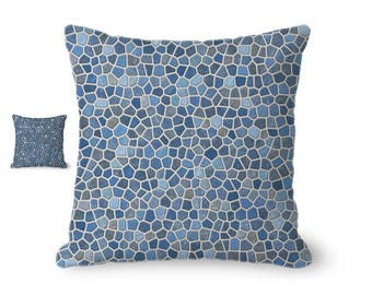 Throw Pillow Cover, geometric pillow cover, blue and gray mosaic design, blue home decor, decorative pillow cover, printed accent pillow