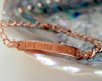 Live Your Dreams, Rose Gold Bracelet, Inspirational Words, Quote Bracelet, Festival, Boho, Live Your Dream, Graduation, Retirement,
