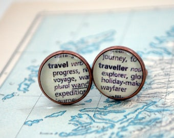 World Traveller Cuff Links, Dictionary Text, Explorer, World Travel Cufflinks, Travel Gift, Wanderlust, Book Lover, Voyage, Journey