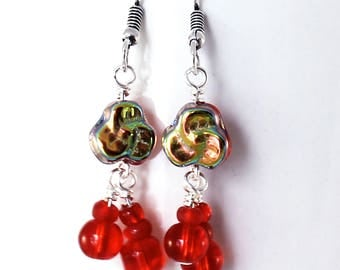 Red Pansy Earrings - Bright Scarlet Red Flowers, Czech Glass Pansies, Antique Silver Earwires, Beaded Dangle Earrings, Handmade Jewelry