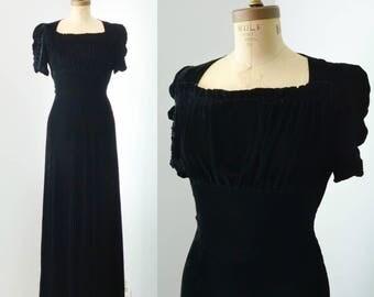Vintage 1930s Black Silk Velvet Gown