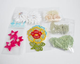 Flower Leaves Sew On Applique Bulk Lot Embroidered Lace Craft Embellish Quilt Scrapbook Many Uses New 54 Pc