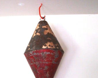 Vintage Extra Large Red and White Boat Float, Large boat float, Door Stop, Boat Bouy, colletible Boat