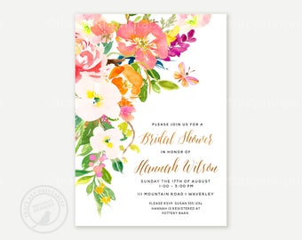 Floral Bridal Shower Invitation  | Watercolor flowers wedding shower invite | Floral Printable Wedding Shower | Autumn, Fall invite | 2813