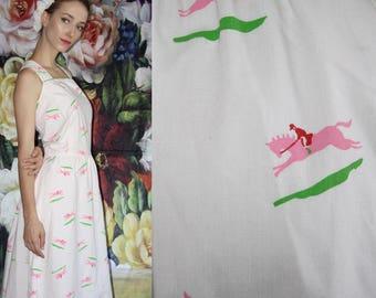60s Vintage Pastel Novelty Horse Jockey Equestrian Print Mod Cotton Day Dress - 60s Novelty Dresses - 60s Clothing - WV0575