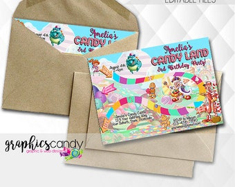 Candy Land Game Invitation - Birthday Party Invitation - Photo Invite - Printable - DIY - Digital File
