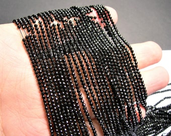 Black Spinel - 2mm faceted round beads -1 full strand - 188 beads - AA Quality - PG69