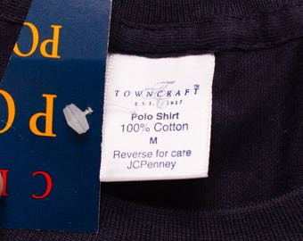 NOS Towncraft Pocket Tee, Polo T-Shirt, JCPenney, Vintage 90s, Dark Navy Blue, 100% Cotton, Rockabilly, Skater
