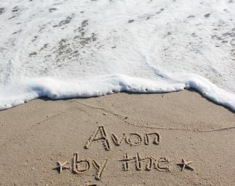 Avon by the Sea Beach Sand Beach Writing  Fine Art Photo Jersey Shore