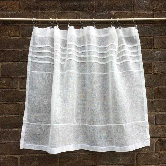 Custom Ivory Off White Sheer Linen Cafe Curtain Kitchen
