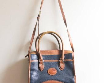 Vintage Dooney and Bourke Crossbody Shoulder Bag -  Blue Brown 80's Leather Satchel Classic