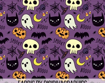 Spooky Halloween Fabric By The Yard - Ghosts Black Cats, Skeletons, Jack-O-Lanterns, Spiders and More Print in Yard & Fat Quarter