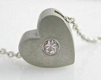 Pink Diamond Platinum Necklace, Natural Pink Diamond, Platinum Jewelry, Platinum Necklace Textured Heart Necklace Platinum Pendant RARE Pink