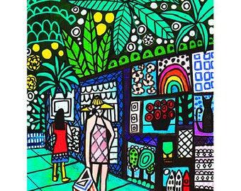 Artwalk by Heather Galler Original Painting American Folk Art Honolulu Hawaii