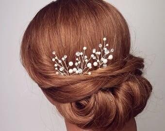 Beaded Hair Pins, Bridal Hair Vine, Pearl Hair Pins, Crystal Hair Piece, Branches, Hair comb, Wedding Headpieces, Vine Head Piece