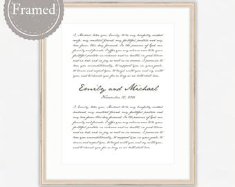 Framed Wedding Vows Print, custom anniversary gift, wall art, free shipping