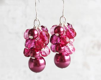 Fuchsia Pink Beaded Cluster Earrings on Silver Plated Hooks