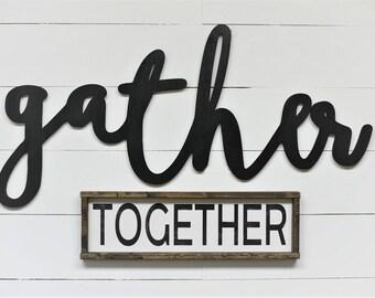 Together Skinny Sign Distressed Framed Wood Sign