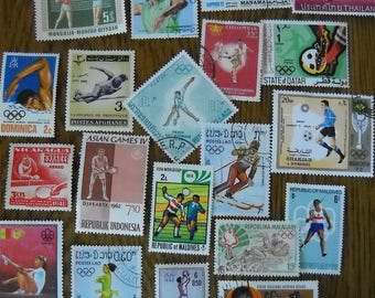 20 Used Vintage SPORTS Olympics Postage Stamps for crafting collage altered art journals scrapbooks philately commemorative stamps 10c