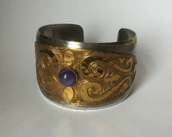 Amazing 1960s to 1970s handmade hippy princess Moda of Malta wide cuff bangle - stainless hammered steel and engraved copper with amethsyt g