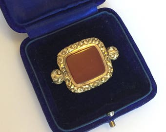Antique 1800s Georgian to early Victorian pretty gold floral pinchbeck and red agate brooch