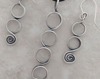 Pendant and Earrings Handmade in Sterling Silver Oxidized 925