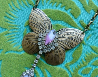 Mystic Butterfly // Assemblage Brass Butterfly Necklace with Vintage Pink Ombre Crystals Bohemian Retro Moonchild Hippie Flapper Gatsby Deco
