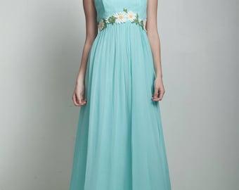 vintage 60s maxi dress blue sheer daisy applique floral empire waist bow SMALL S