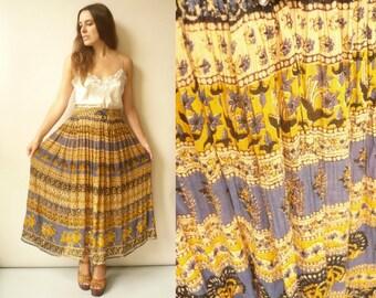 Vintage Indian Hippie Rayon Gauze Sheer Gypsy Tie Waist Maxi Skirt