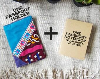 Travel Gift - Passport Holder Passport Cover Batik - Blue Lavender Ethnic, Repurposed Remnant Fabric Patchwork