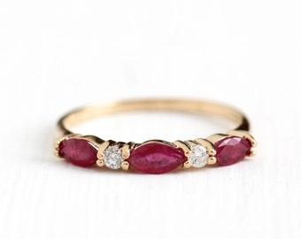 Estate 14k Yellow Gold Diamond & Ruby Wedding Band Ring - Size 5 1/4 Vintage Fine Bridal Pink Genuine Gemstone Stacking Engagement Jewelry