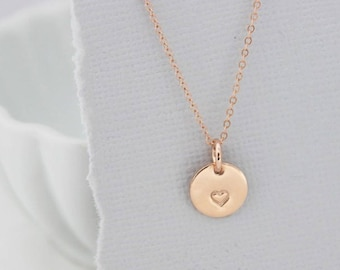 rose gold tiny heart charm necklace, dainty Valentine's Day jewelry, gold heart necklace, every day jewelry, dainty jewelry for her