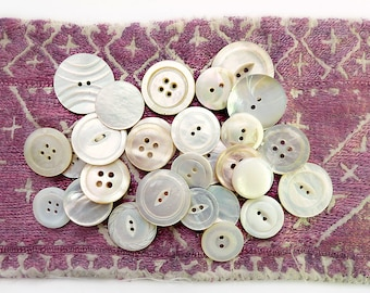 Thirty Vintage Mother of Pearl Buttons, Medium and Large