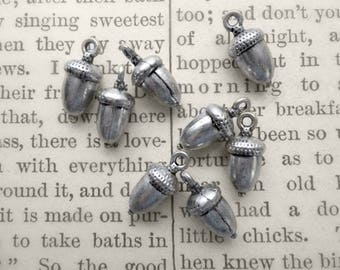 8 Antiqued Silvertone Acorn Charms