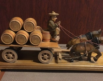 Vintage Woodenware Man on Pulled by Horse, Carrying Barrels, Beer or Wine, Bar Vineyard Brewery