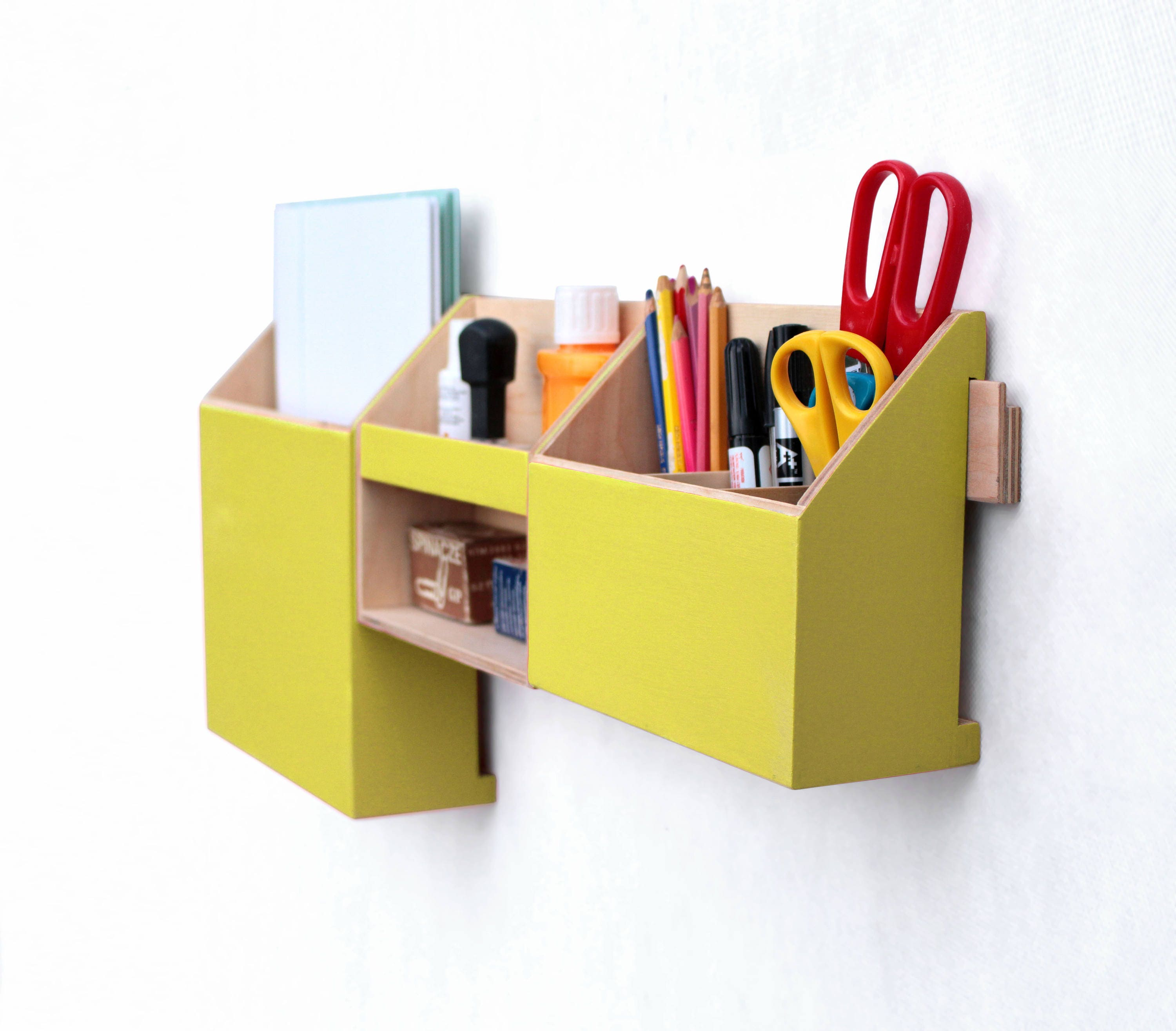 Yellow Wall Organizer, Wood Mail Organizer, Wall hanging Pen holder, Wall  holder, Home office Yellow set, Desk organizer, Yellow home decor