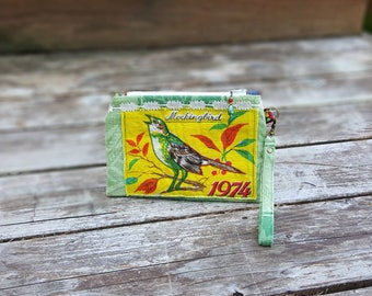 Wristlet Zipper Pouch, Small Purse, Vintage Linen 1974 Bird Calender Upcycle, Mockingbird, Embroidery, Vintage Lace, Calico Lined