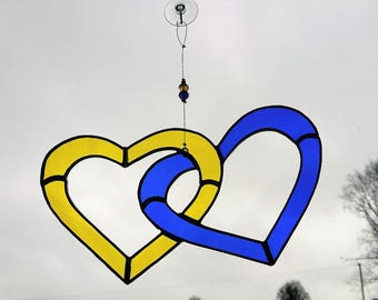Love Heart Stained Glass Suncatcher in Yellow and Blue, Interlocking hearts,  Soul Mate, Wedding Gift, Made in Ireland - Tiffany