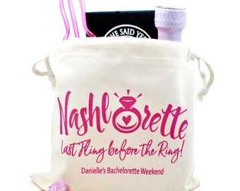 Bachelorette Party, Favor, tote bag, drawsting bags, personalized, Custom, Survival Kit Bags, Nashlorette