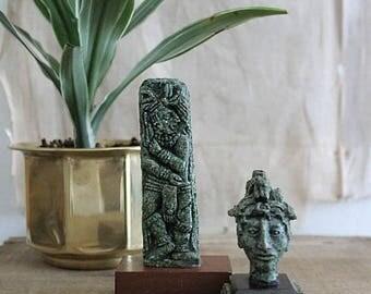 Vintage Mexican Mayan Aztec Figurine, Mexican Malachite Statue, Pressed Malachite Statue, Mini Bust Statue